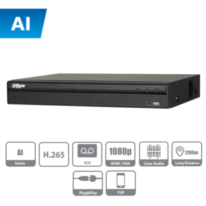XVR5104H-I DAHUA DVR de 4 Canales con IA de 5MP Lite/ 4MP Lite/