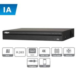 XVR5116H-I DAHUA DVR de 16 canales con IA / 5MP N/ 4MP N / 1080p