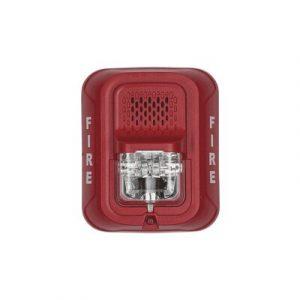 P2R-L SYSTEM SENSOR Sirena con Lámpara Estroboscópica a 2 Hilos, Montaje en Pared, Color Rojo
