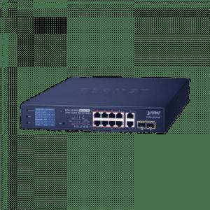 FGSD-1022VHP PLANET Switch PoE+ / distancia 250 metros / 8 puertos + 2 combo TP/SFP gigabit